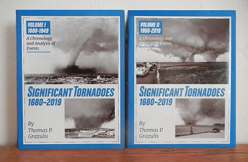 The covers of Significant Tornadoes 1680-2019, a two volume set.